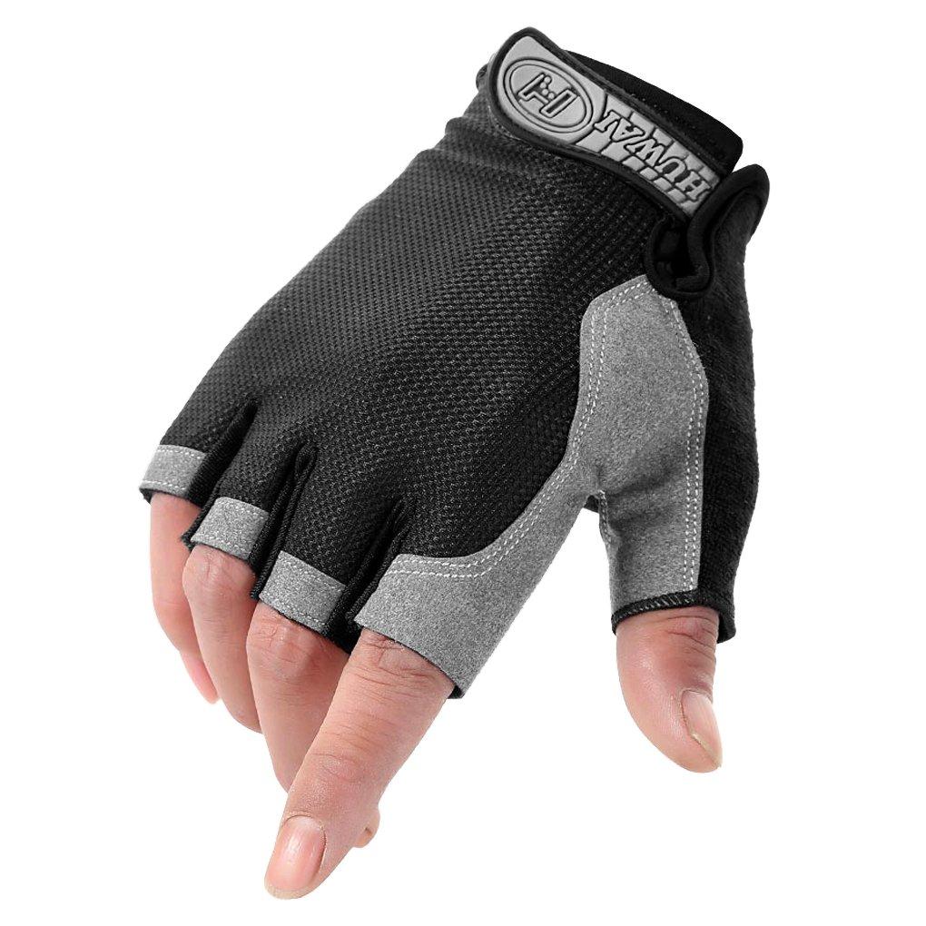 ユニセックススポーツサイクリング半指手袋メンズ指なし滑り止めフィットネスジムワークアウト練習ジェルパッドミトンアウトドアマウンテンバイクアクセサリー手袋、スポーツ手袋、クロスフィット、ボディビルディング、Riding B0799FP9SH Large|ブラック ブラック Large