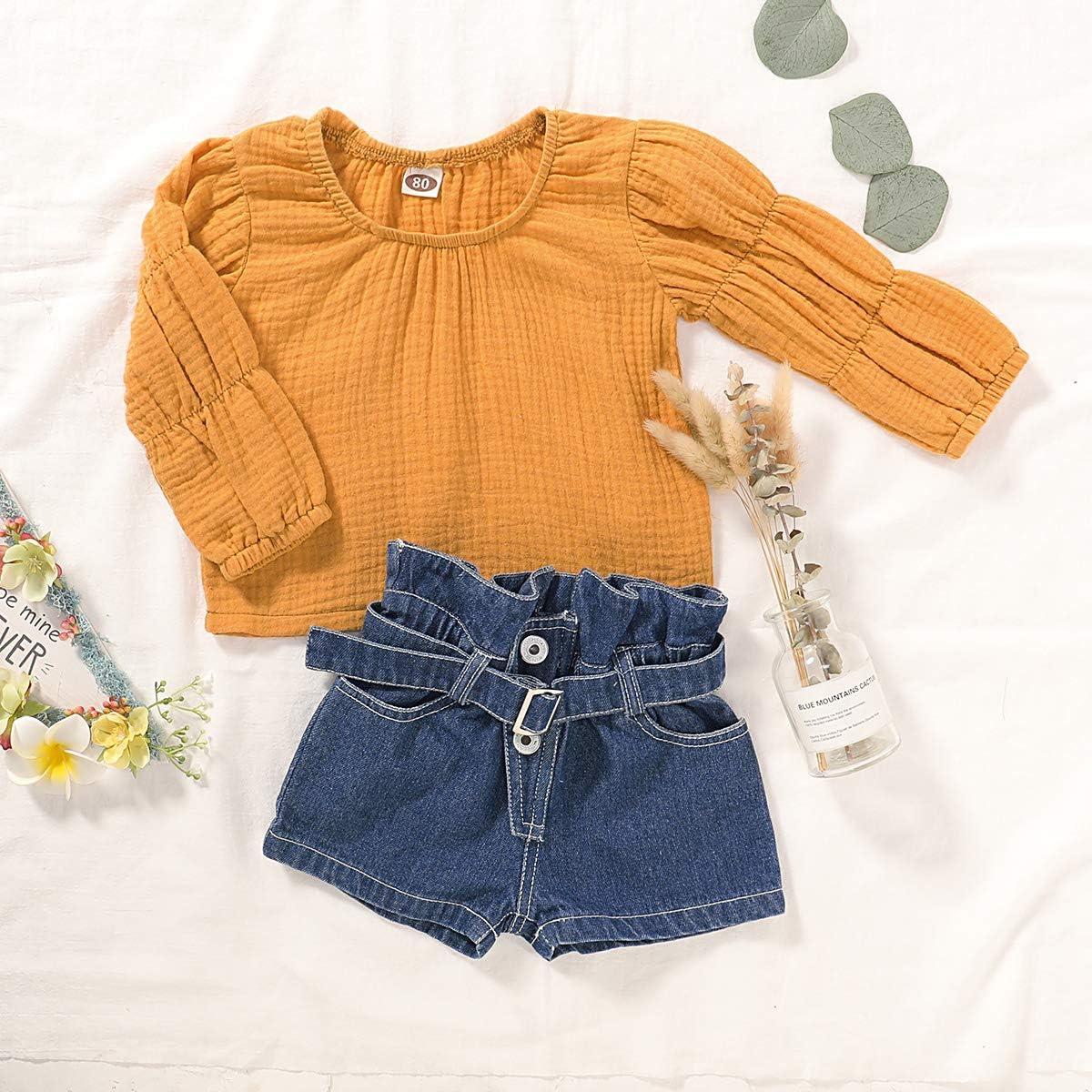 DaMohony giallo blu camicia Completo per bambine pantaloni jeans corti con volant elegante vestito manica soffio per primavera pantaloni corti da bambina per estate