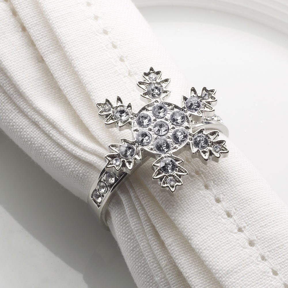Napkin Rings - Shimmering Snowflake 27 Diamantes ideal for Christmas - set of 4 by CSC Imports Ltd