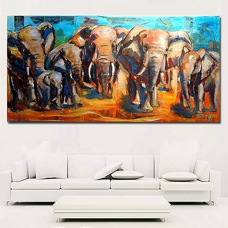 WSNDGWS Animal Art Elefante Africano Familia Lienzo Grande ...