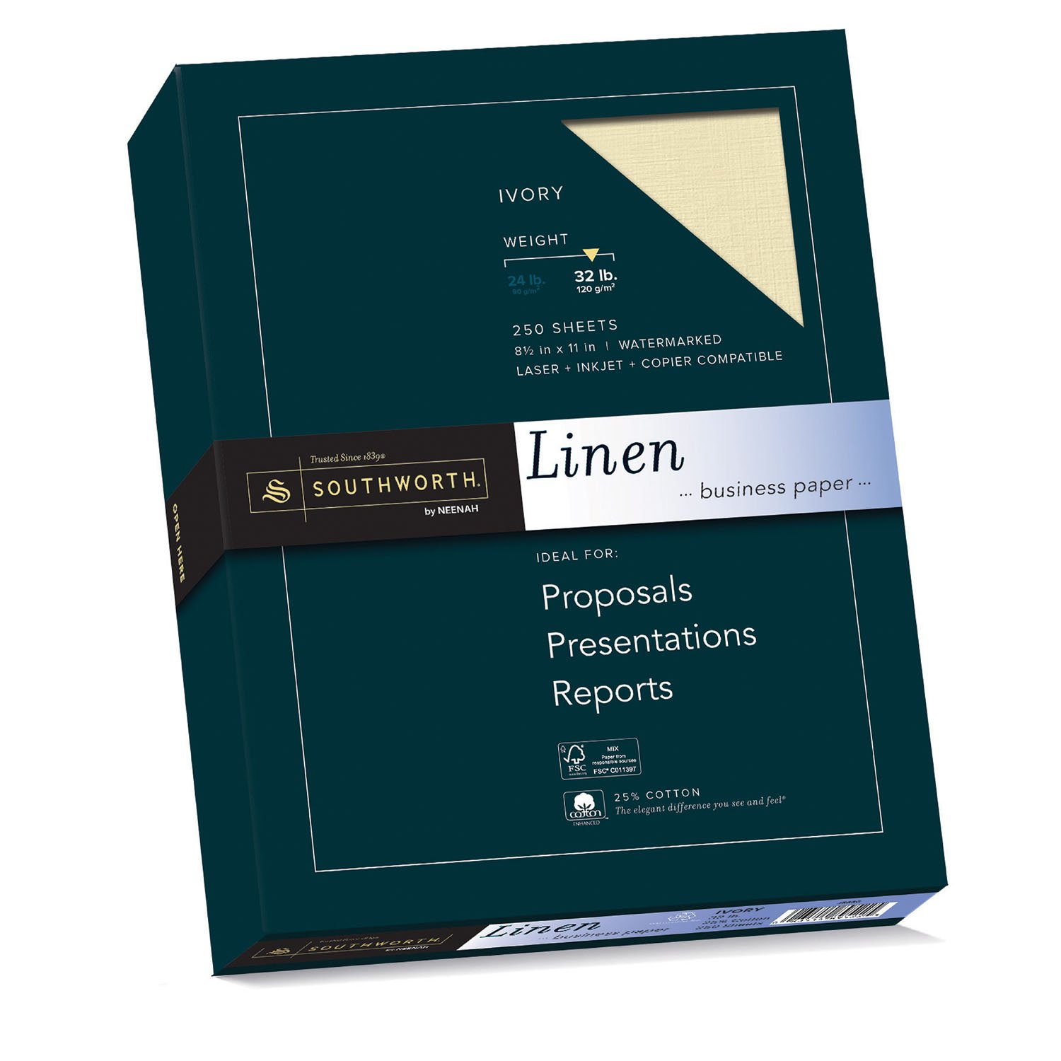 Amazon.com : Southworth Linen Business Paper, Ivory, 32 Pounds, 250 Count  (J568C) : Office Products  Resume Paper Weight