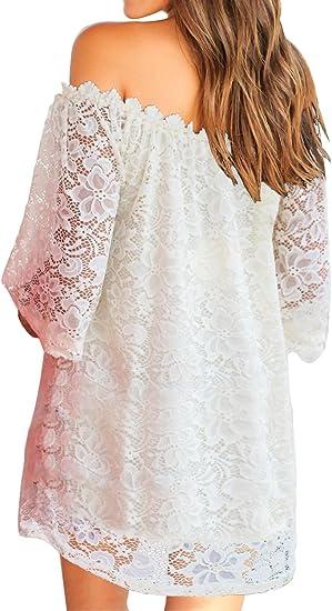 Women's Off Shoulder Lace Shift Loose Mini Dress