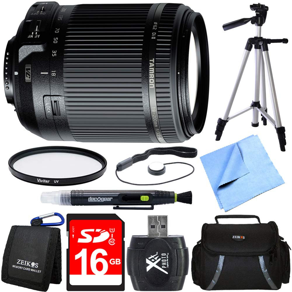 Tamron 18-200mm Di II VC All-in-One Zoom Lens for Nikon Mount Bundle with 16GB SDHC High Speed Memory Card, Camera Bag for DSLR, 62mm Multicoated UV Protective Filter and 60 Inch Camera/Video Tripod by Beach-Camera