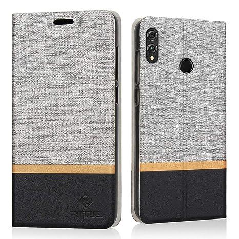 RIFFUE Funda Honor 8X, Carcasa Delgada Libro de Cuero con Tapa Cartera de Ranura y Billetera Elegante Case Cover para Huawei Honor 8X - Gris