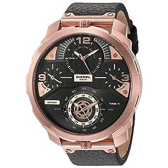 c15f74598 Diesel Men's Black Dial Leather Band Watch - DZ7380: Amazon.ae