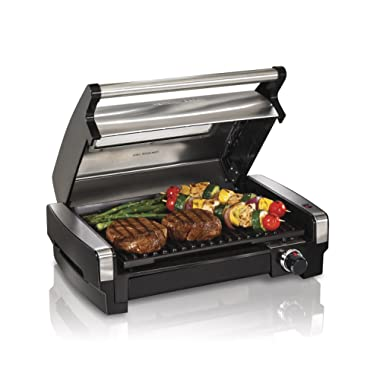 Hamilton Beach 25361 Electric Smokeless Indoor Searing Grill with Removable Plates and Viewing Window, 040094253616, Silver