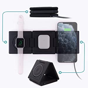 Unravel 3 in 1 Wireless Charger (Apple Watch Compatible) 10W for iPhone 11/11 Pro/11 Pro Max/XS/Xs Max/XR/X/8/8 Plus/SE/Samsung Galaxy/AirPods (Black)