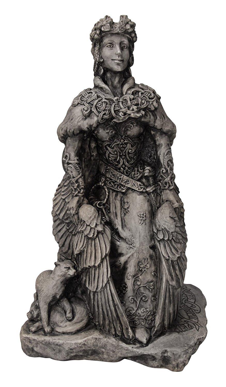 Large Norse Goddess Freya Statue Stone Finish