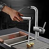 Auralum® Miscelatore Monocomando rubinetto lavello con doccetta estraibile, per lavello da cucina con Valvola in ceramica