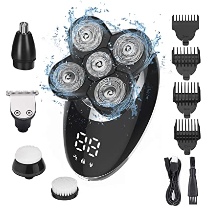 Amazon.com: Ehpow Electric Shavers for Men Bald Head Shaver LED Display Rechargeable Electric Rotary Shaver 5 in 1 Head Shavers rooming Kit with Clipper Nose Hair Sideburns Trimmer Facial Clean Waterproof: Beauty