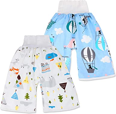 GEMVIE 2 Pack Baby Potty Training Pants,Toddler Kids Diaper Pants Shorts 2 in 1 Waterproof Reusable Training Nappy Pants