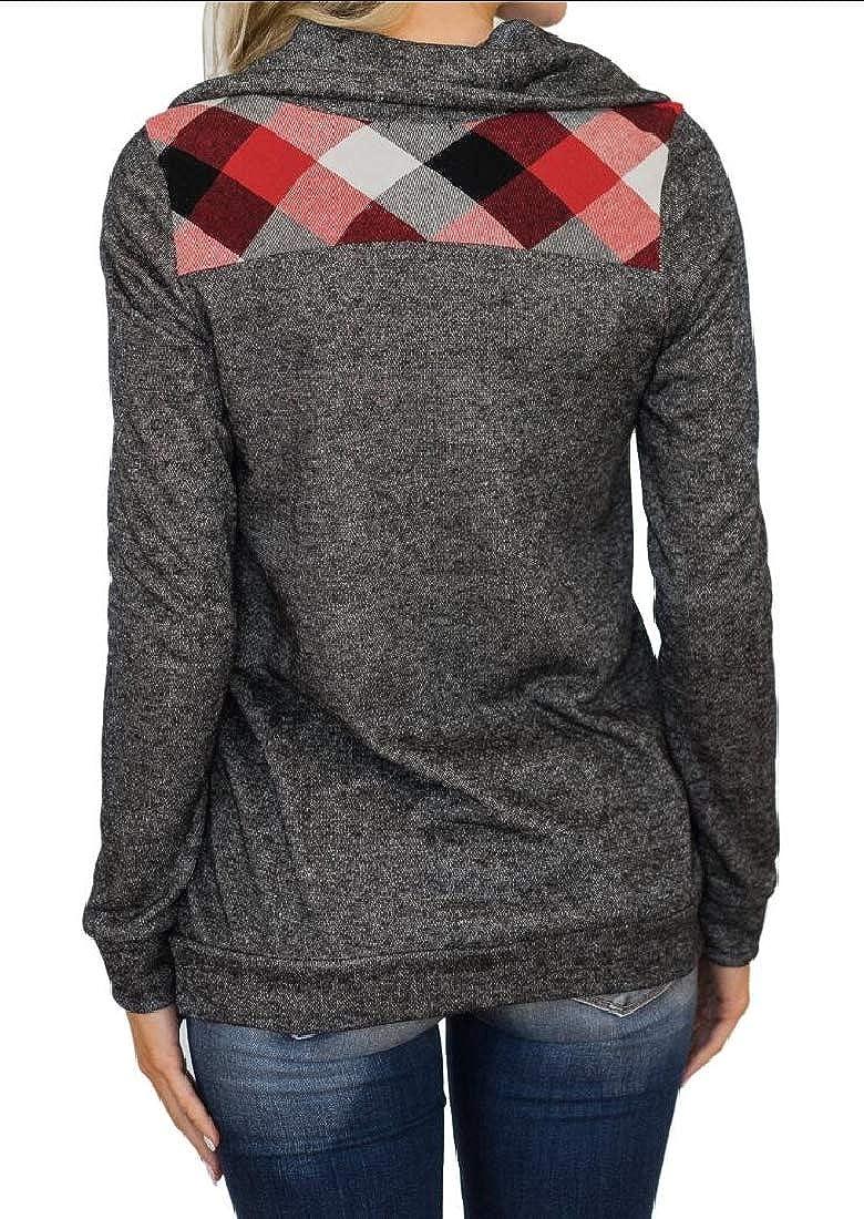 UNINUKOO Unko Womens Warm Button Lapel Stitching Long Sleeve Sweatshirts