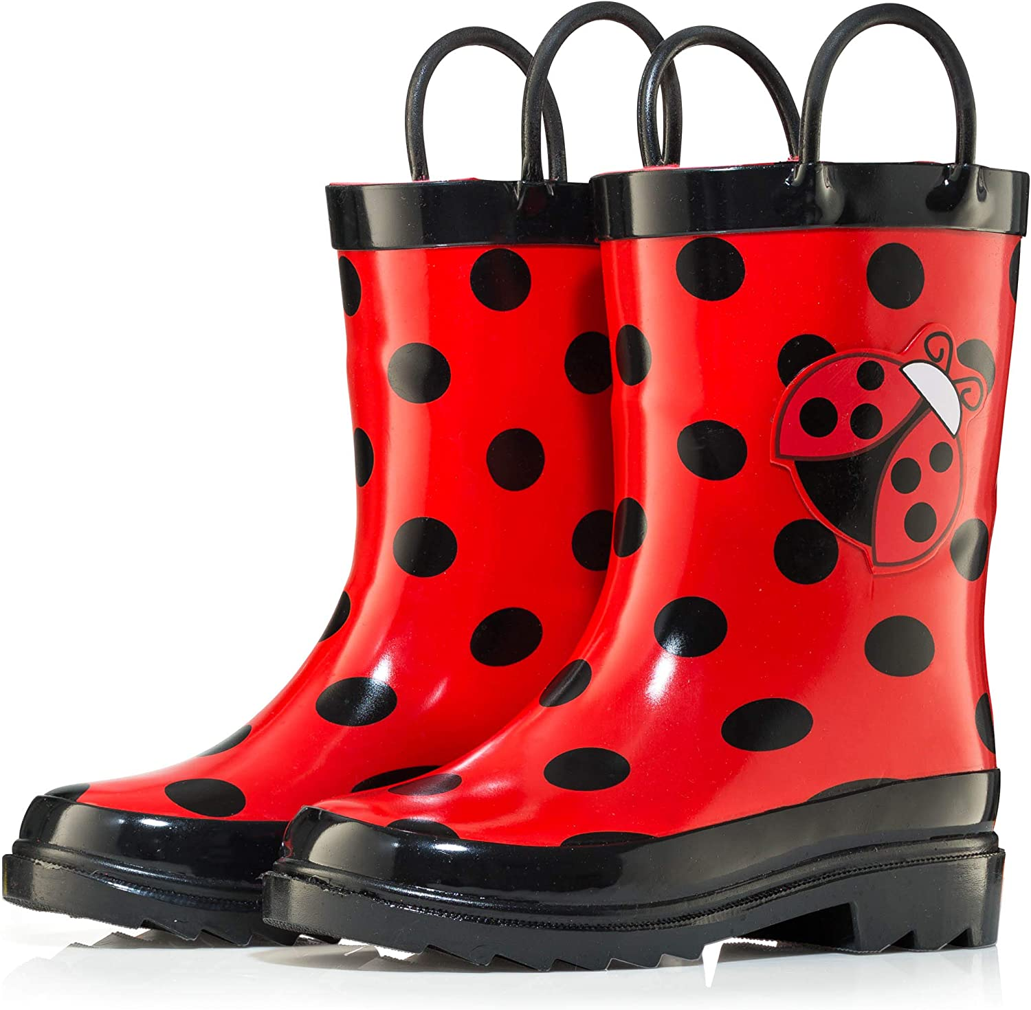 Puddle Play Toddler and Little Kids Waterproof Rubber Rain Boots with Easy-On Handles Boys and Girls Colors and Designs