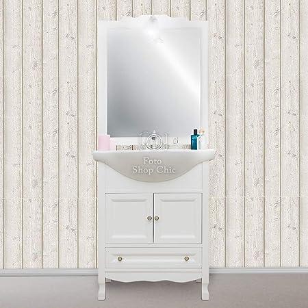 Mobile Bagno 65 cm Shabby Chic in Legno Bianco provenzale ...