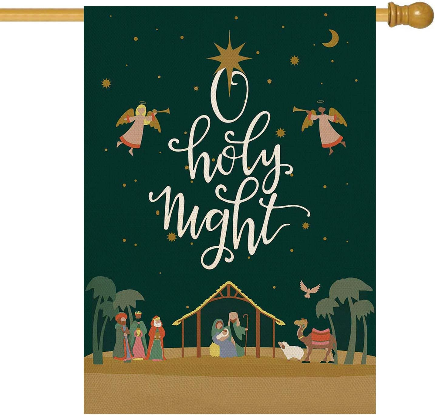ORTIGIA Christmas Garden House Flag Burlap Double Sided Oh Holy Night Yard Flag Winter Holiday Nativity Xmas Scene Story Small Flag Outdoor Indoor lawn Decoration 28 x 40inch