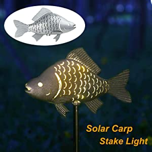 "Solar Garden Lights Metal Fish Decorative Stake for Outdoor Patio Yard Decorations,Warm White LED Solar Path Lights,39.4"" Hight(Sliver)"