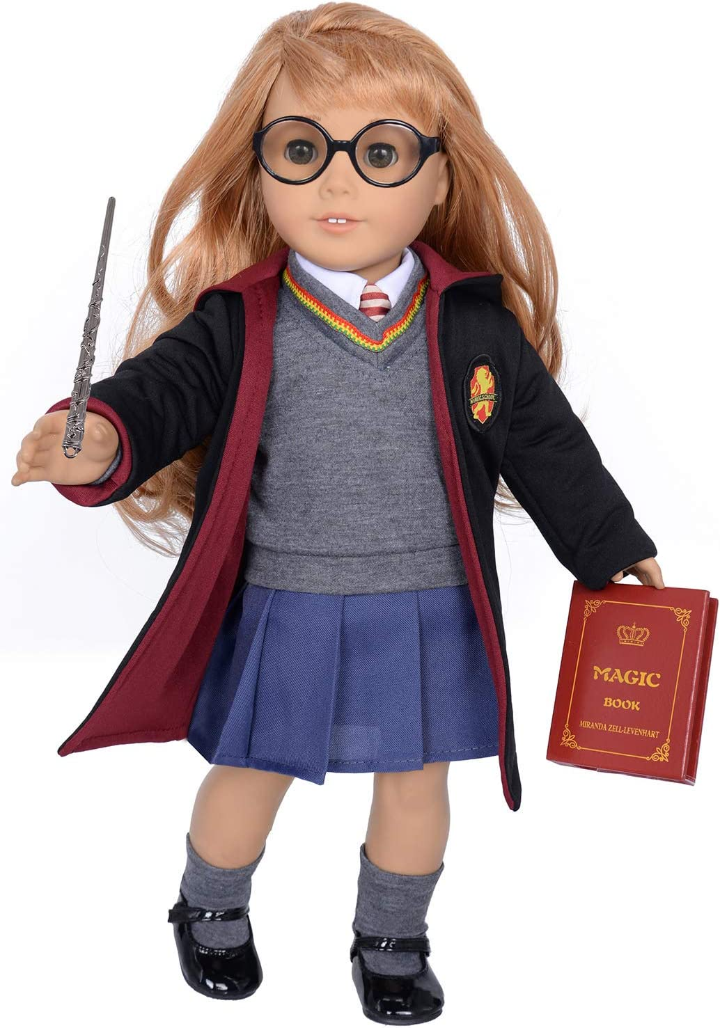 ebuddy 10pc Set Hermione Inspired Doll Clothes Outfits for 18 inch American Girl Dolls Includes Shirt, Skirt, Sweater, Tie, Socks, Robe, Magic Wind,