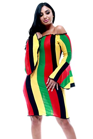 3d8b4fbf96 Fifth Degree Reggae Jamaican Off Shoulder Bell Sleeve Club Rasta Dress (S)