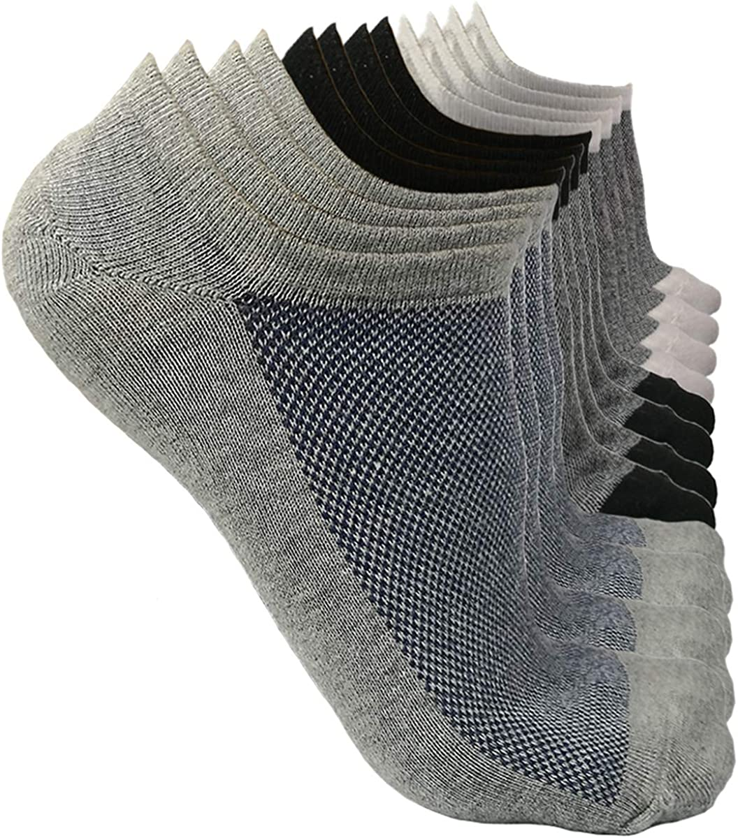 6 Pairs Low Cut No Show Socks Cotton Invisible Ankle Athletic Socks Sneaker Socks Non Slip Comfortable Sports Trainer Casual Socks for Men Women Flats Boat Shoes Loafers