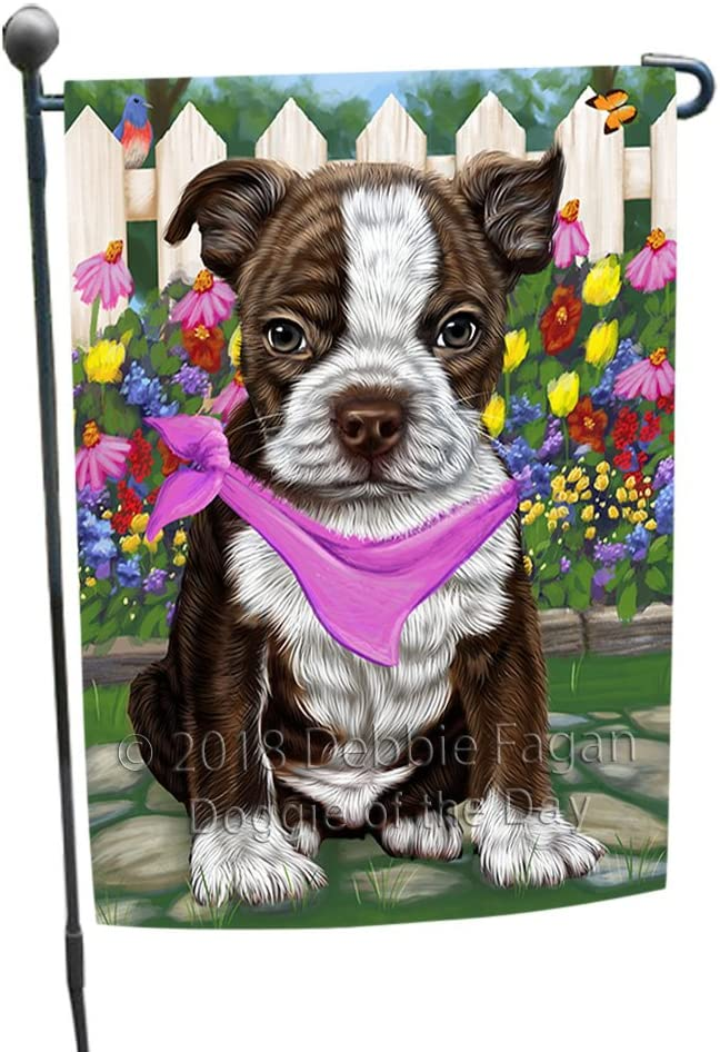 Doggie of the Day Spring Floral Boston Terrier Dog Garden Flag GFLG49633