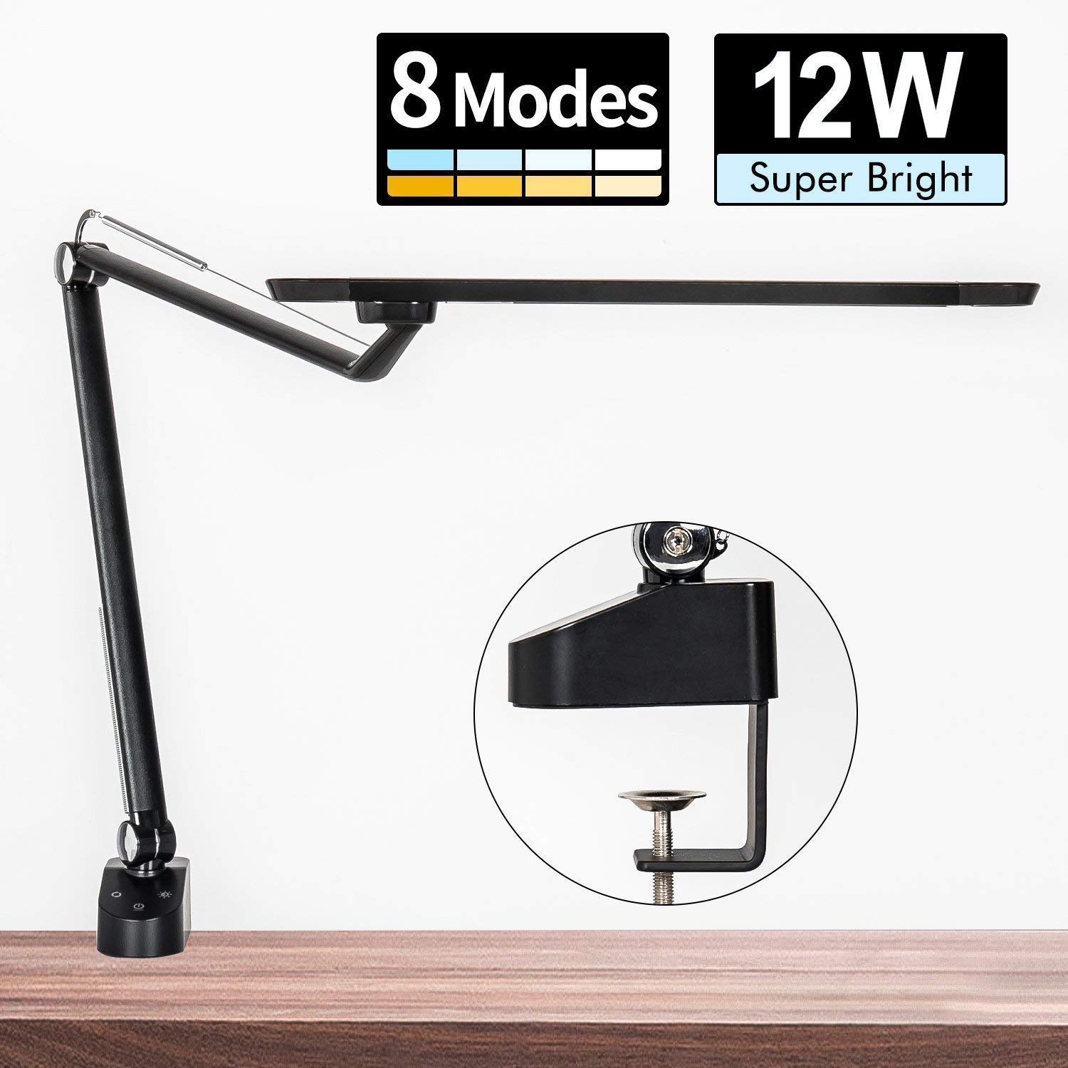 Amico 12W LED Architect Desk Lamp/Clamp Lamp/Metal Swing Arm Task Lamp (Eye-Protective, Touch Control, Gradural Dimming/8 Color Modes, Memory Function) Highly Adjustable Office/Work Light