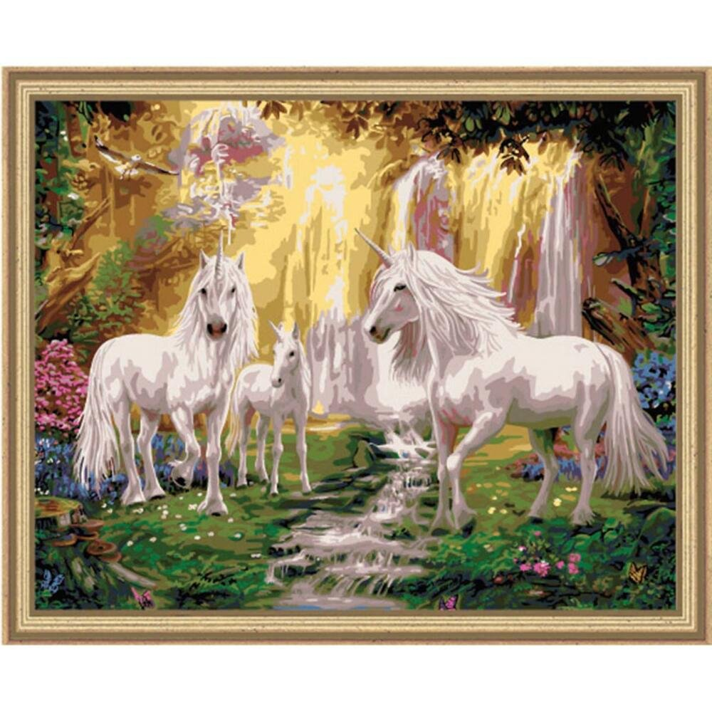 Plaid Creates Paint by Number Kit (16 by 20-Inch), 22060 Waterfall Glade Unicorns