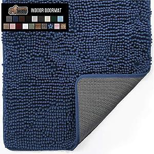 Gorilla Grip Original Indoor Durable Chenille Doormat, 48x30, Absorbent, Machine Washable Inside Mats, Low-Profile Rug Doormats for Entry, Mud Room Mat, Back Door, High Traffic Areas, Navy Blue