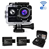 APEMAN Waterproof Action Camera Wi-Fi Action Cam Underwater Sports Camera 1080P 14MP 2.0'' LCD Screen Full HD 170° Ultra Wide-Angle Dual 1050mAh Batteries with Portable Package Case and Kit of Accessories