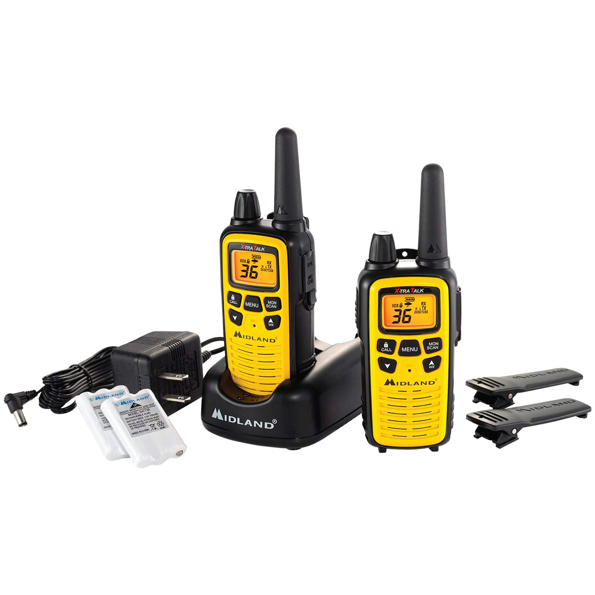 Midland - LXT630VP3, 36 Channel FRS Two-Way Radio - Up to 30 Mile Range Walkie Talkie, 121 Privacy Codes, NOAA Weather Scan + Alert (Pair Pack) (Yellow/Black) by Midland
