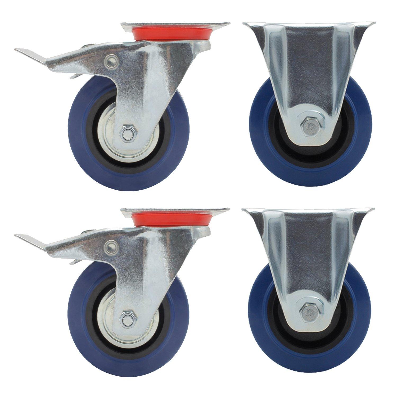 YAOBLUESEA 4 x 125mm Ruedas Giratorias Ruedas para Muebles con Freno (2 con freno y 2 sin freno): Amazon.es: Bricolaje y herramientas