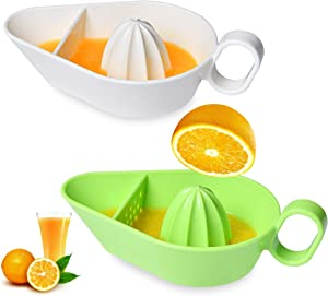 Milkary 2 Pack Hand Juicer Citrus Orange Squeezer, Citrus Lemon Orange Fruit Manual Hand Juicer with Handle Strainer and Container for Home Bar Kitchen (Green White)