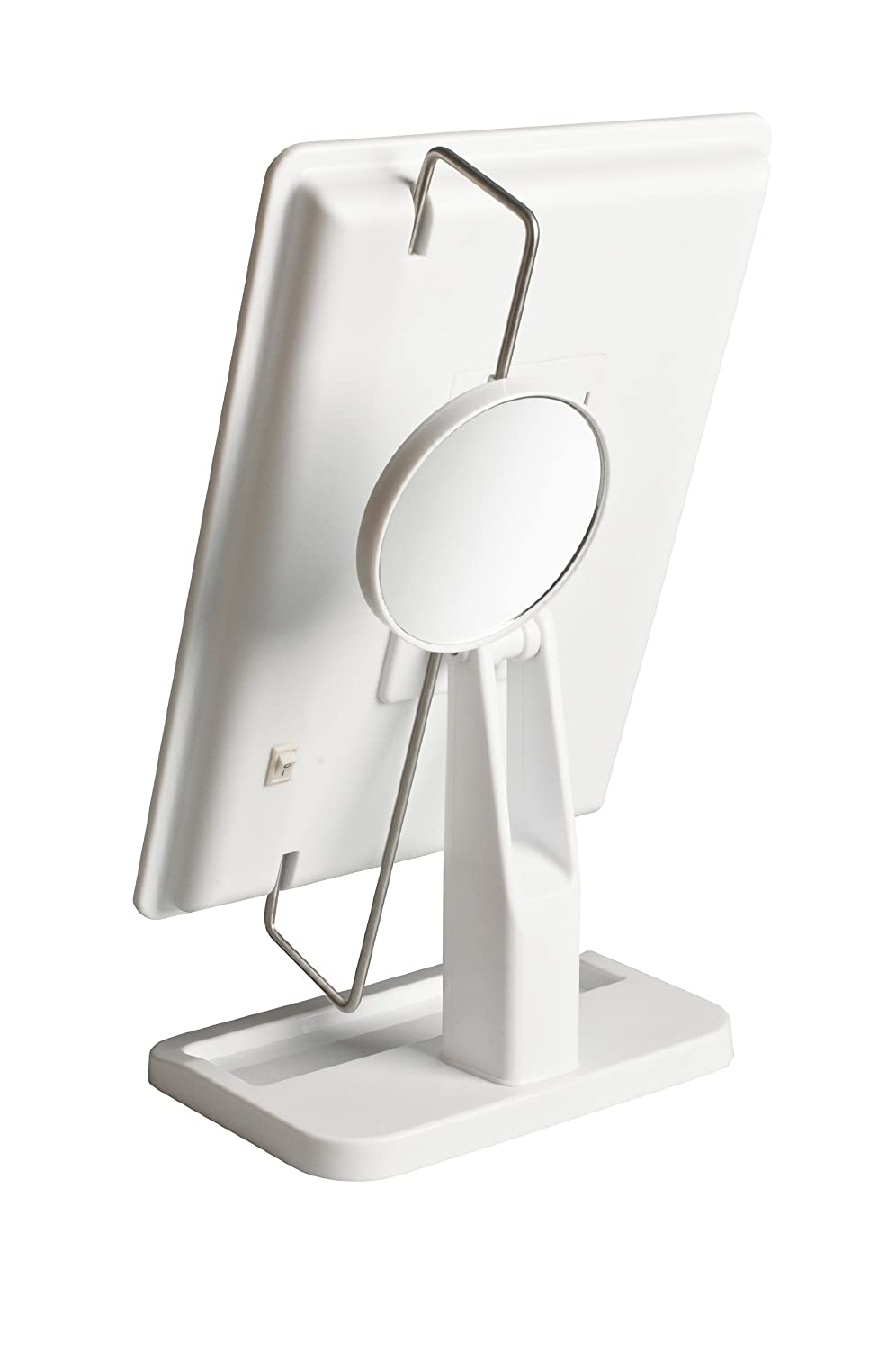 White Finish Jerdon JS811W 8-Inch by 11-Inch Rectangular LED Lighted Vanity Mirror with 10x Magnification Spot Mirror