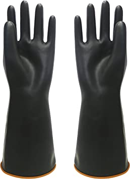 HeavyDuty Household Industrial Gardening BLACK Rubber Latex Gloves Size 8 Medium