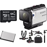 Sony HDRAS300/W HD Underwater Action Cam (White) w/ 64GB Hardshell Case Action Bundle