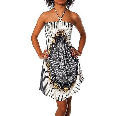 112 Femme motif multicolore tissu robe bandeau tuchkleid robe dos nu