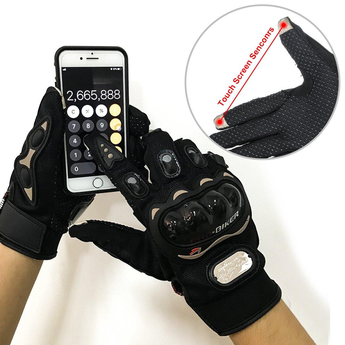 GES Men Outdoor Motorbike Waterproof Gloves Motocicleta Full Finger Touch Screen Racing Motocross Guantes M, Azul