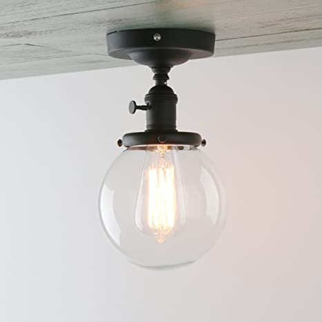 Permo vintage industrial mini 59 round clear glass globe semi permo vintage industrial mini 59quot round clear glass globe semi flush mount ceiling light fixture aloadofball