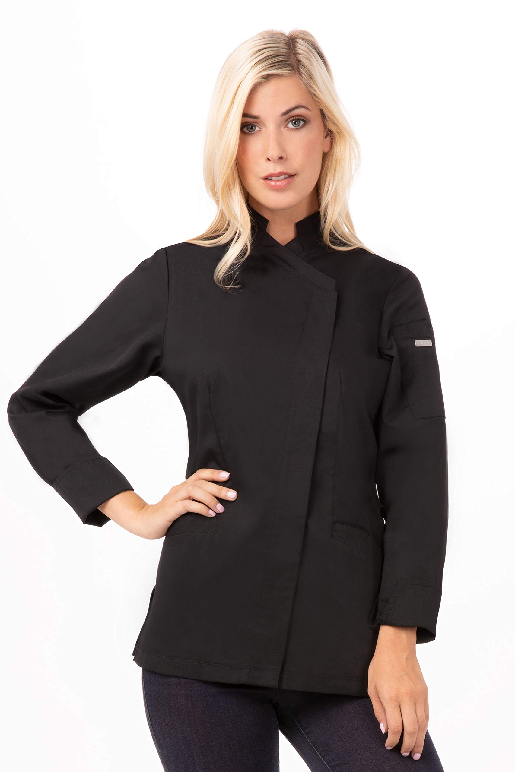 Chef Works Women's Marrakesh V-Series Chef Coat, Black, Small by Chef Works