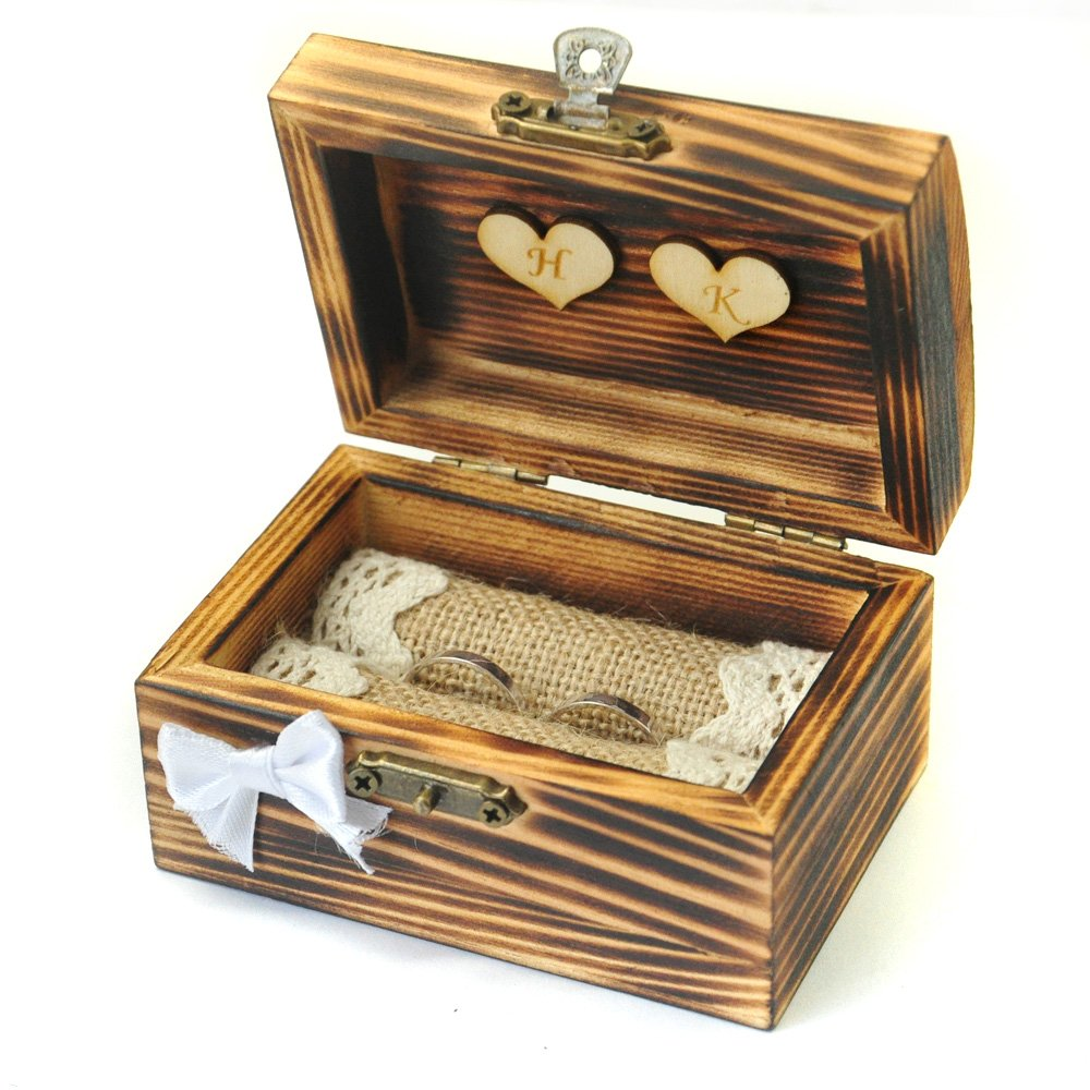 Personalized wedding ring box, Rustic ring bearer, Wooden ring holder with hearts, Custom Hearts W-007
