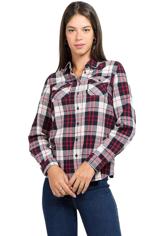 2100 muselooks Women's LongSleeve Button Up ClassicFit Lightweight Plaid Flannel Shirt Red