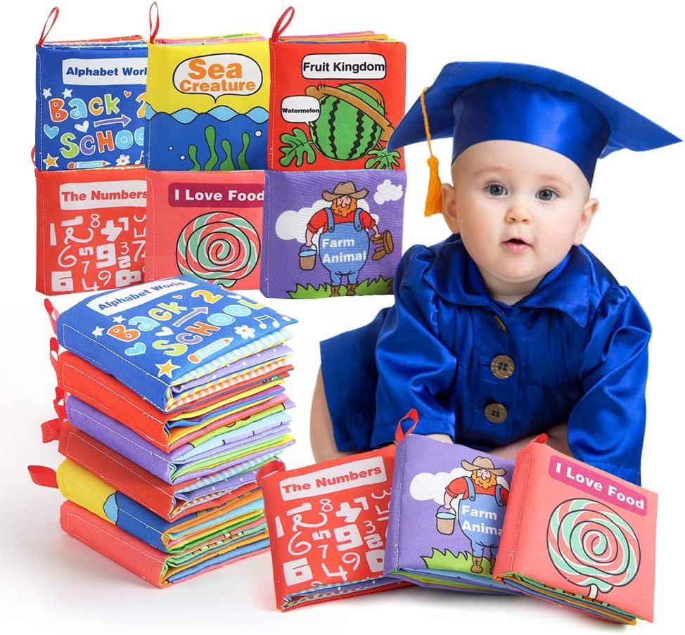 BeebeeRun Livres en Tissu Doux pour b/éb/és,dactivit/é de Livre danimal Livres de Queue,Jouets pour Nouveau-n/és Educatif Cadeau pour Enfants B/éb/é Bambin 0 Mois