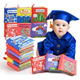BeebeeRun Cloth Books Baby, 6 Set My First Non-Toxic Soft Clothing Book Educational Toys Gifts for 1 Year Old Babies Infants Toddlers Touch and Feel Activity