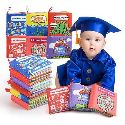 Beebeerun 6 Pieces Livres D Eveil Livres De Jouets Bebe Livres En Tissu Jouet Educatif Pour Bambin Bebe 0 A 18 Mois Cadeau Anniversaire Fete Nouvel