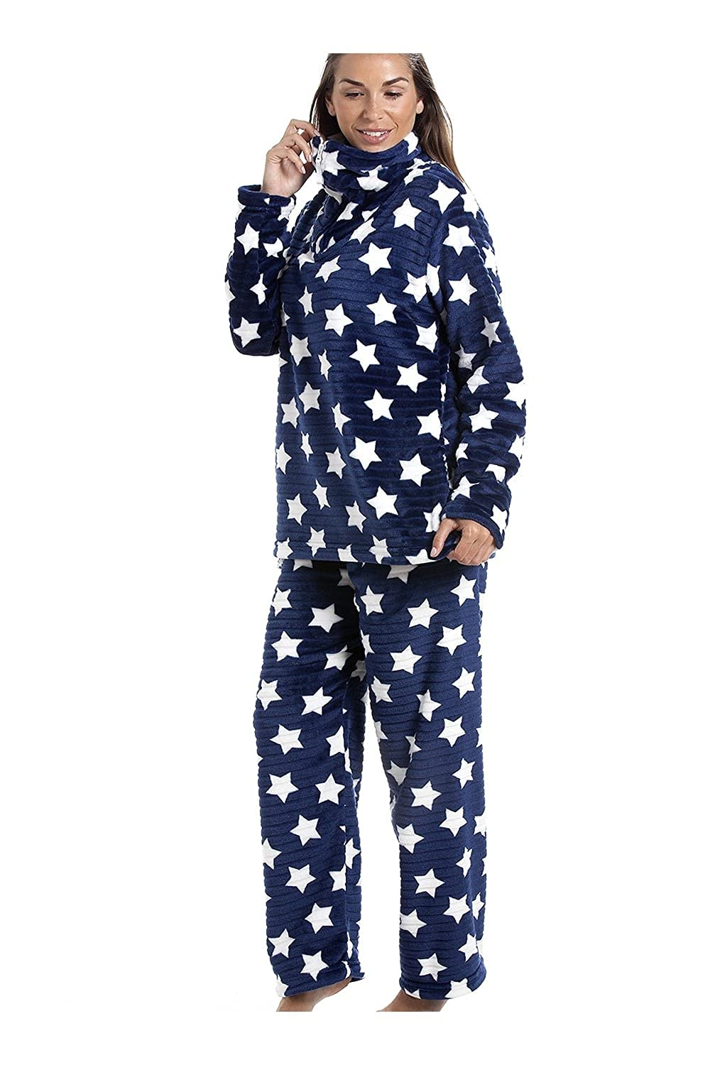 Camille Womens Ladies Navy Blue Supersoft Velour Fleece White Star Print Pajama Set 14/16 Blue at Amazon Womens Clothing store: