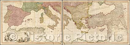 Amazon.com: Historic Map   Mediterranean Sea with the ... on map of oceans in europe, map of agriculture in europe, map of germany in europe, map of lakes in europe, map of water in europe, map of cities in europe, map of deserts in europe, map of fish in europe, map of italy in europe, map of ports in europe, map of straits in europe,