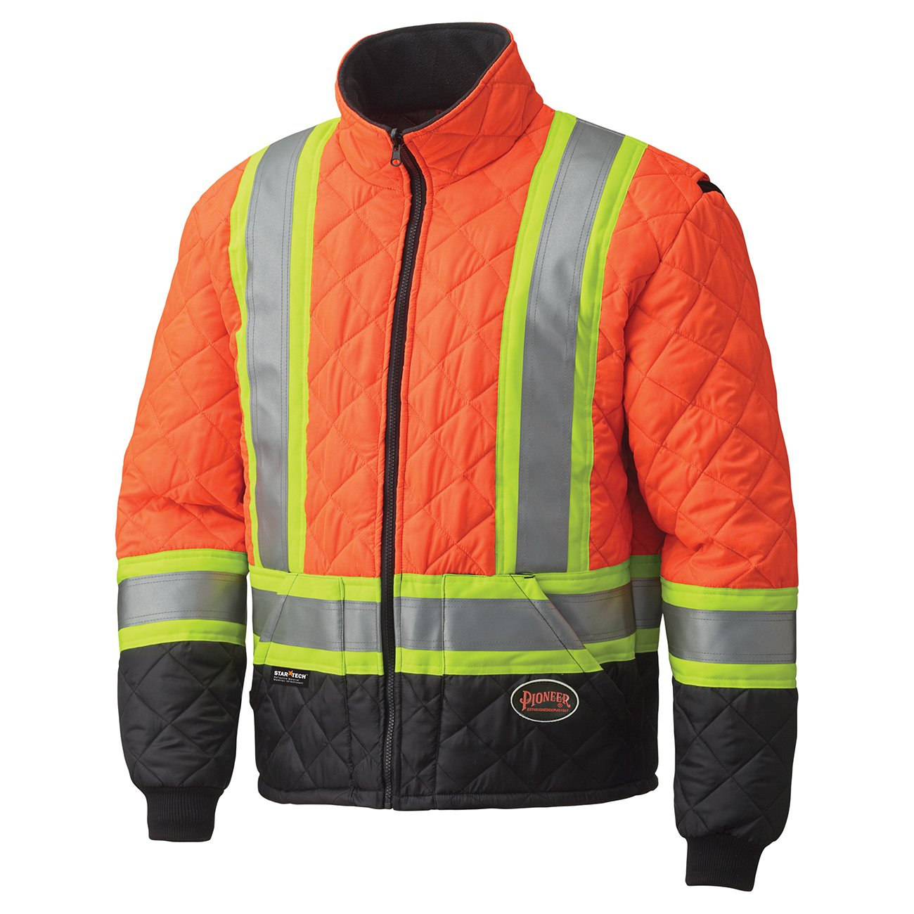 Pioneer V1170150-L High Visibility Quilted Freezer Jacket, Orange, L