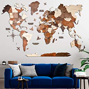 3D Wood World Map Wall Art Large Wall Décor - World Travel Map - Any Occasion Gift Idea - Wall Art For Home & Kitchen or Office