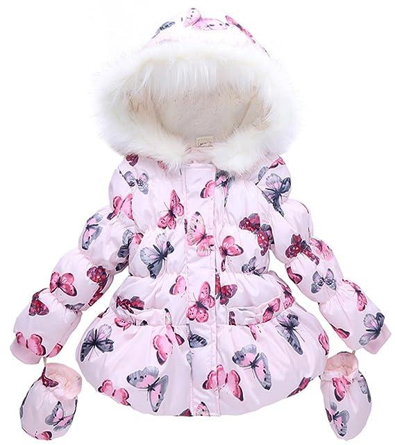 343a2f96404 Kedera Baby Girl Butterfly Pattern Outwear Winter Hoodie Down Jacket Coat  with Gloves