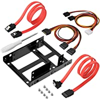 AGPtek 2x 2.5 Inch SSD to 3.5 Inch Internal Hard Disk Drive Dual Mounting Bracket Kit, Metal Alloy Bracket Kit with SATA Data Cables & Power Cables – Black