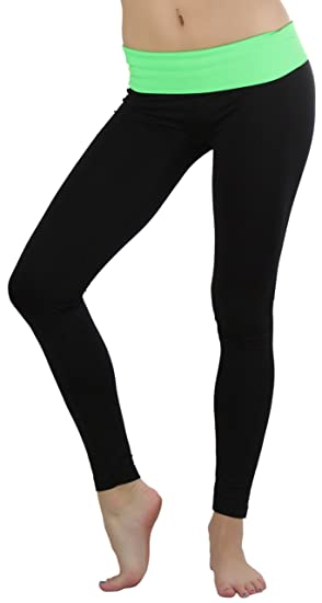 8808df84b2 ToBeInStyle Women's Black Athletic Leggings with Fold-Over Contrast  Waistband - Green